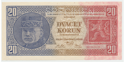Československo, 20 Koruna 1926, 1x SPECIMEN, Baj.21b2