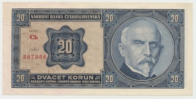 Československo, 20 Koruna 1926, série Ch, Baj.21b2