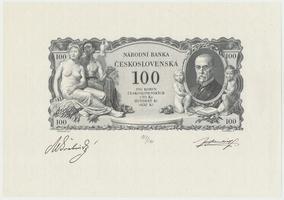 Československo, 100 Koruna 1931, číslovaný černotisk Rv. na papíře s vodoznakem, Hej.25, BHK.25