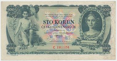 Československo, 100 Koruna 1931, série C, neperforovaná, Baj.25a