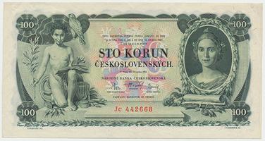 Československo, 100 Koruna 1931, série Jc, neperforovaná, Baj.25c