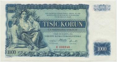 Československo, 1000 Koruna 1934, neperforovaná, Baj.27