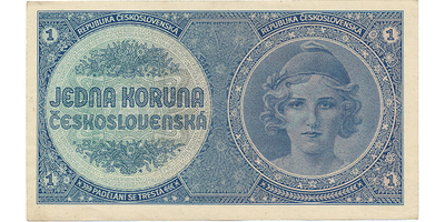 Československo, 1 Koruna b.d. (1938), bez přetisku, Baj.N1