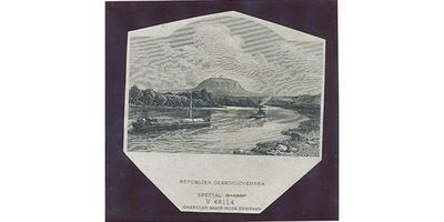 Československo, Otisk hlubotiskové rytiny krajiny s Řípem pro avers 5000 Kč/1920