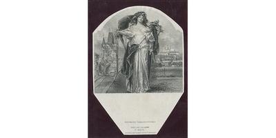 Československo, Otisk hlubotiskové rytiny alegorické postavy pro revers 5000 Kč/1920