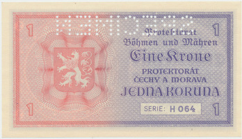 Protektorát Čechy a Morava, 1 Koruna b.d. (1940), 1x SPECIMEN, Baj.30