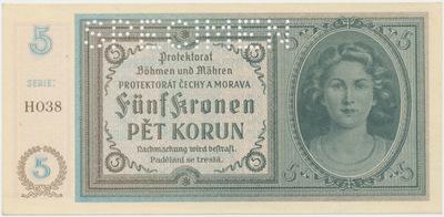 Protektorát Čechy a Morava, 5 Koruna b.d. (1940), 1x SPECIMEN, Baj.31