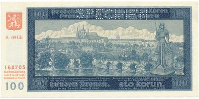 Protektorát Čechy a Morava, 100 Koruna 1940, II. vydání, série Gb, 1x SPECIMEN, Baj.33b