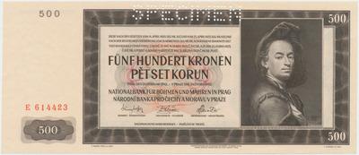 Protektorát Čechy a Morava, 500 Koruna 1942, I. vydání, 1x SPECIMEN, Baj.35