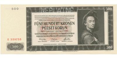 Protektorát Čechy a Morava, 500 Koruna 1942, I. vydání, perforace NEPLATNÉ, Baj.34