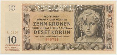 Protektorát Čechy a Morava, 10 Koruna 1942, série N, 1x SPECIMEN, Baj.37b