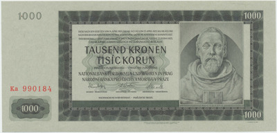 Protektorát Čechy a Morava, 1000 Koruna 1942, II. vydání, Baj.39a