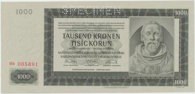 Protektorát Čechy a Morava, 1000 Koruna 1942, II. vydání, 1x SPECIMEN, Baj.39a