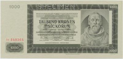 Protektorát Čechy a Morava, 1000 Koruna 1942, III. vydání, 1x SPECIMEN, Baj.39b