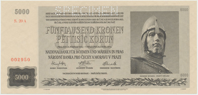 Protektorát Čechy a Morava, 5000 Koruna 1944, 1x SPECIMEN, Baj.41