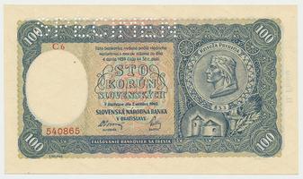 Slovensko, 100 Koruna 1940, II. vydání, 1x SPECIMEN, Baj.49a