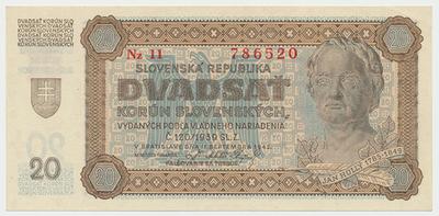 Slovensko, 20 Koruna 1942, série Nz 11 (chybotisk - správně má být Nž 11), Baj.53b