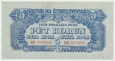 Československo, 5 Koruna 1944, svislý podtisk, neperforovaná, Baj.57b