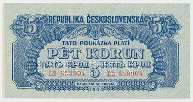 Československo, 5 Koruna 1944, svislý podtisk, 1x SPECIMEN, Baj.57b, chybotisk v podtisku na Av.