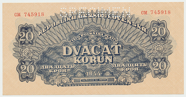 Československo, 20 Koruna 1944, 1x SPECIMEN, Baj.58a1