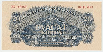 Československo, 20 Koruna 1944, 1x SPECIMEN, Baj.58b