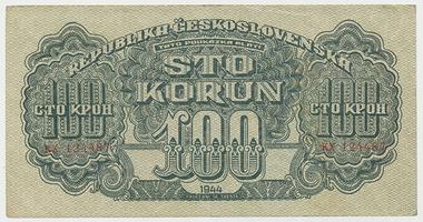 Československo, 100 Koruna 1944, neperforovaná, Baj.59a1