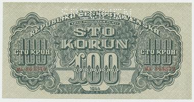 Československo, 100 Koruna 1944, 1x SPECIMEN, Baj.59a1