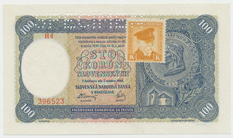 Československo, 100 Koruna 1940/1945, I. vydání + kolek, 1x SPECIMEN, Baj.62a