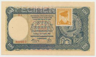Československo, 100 Koruna 1940/1945, II. vydání + kolek, 1x SPECIMEN, Baj.63a