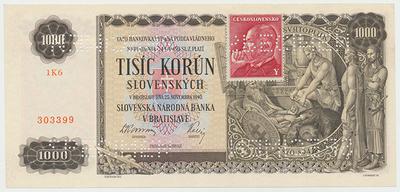Československo, 1000 Koruna 1940/1945, kolkovaná, bankovní vzor - 4x SPECIMEN, Baj.65