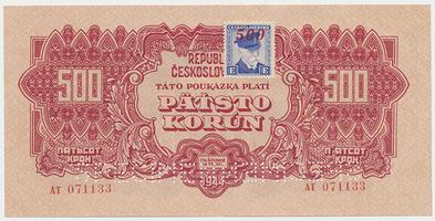 Československo, 500 Koruna 1944/1945, kolkovaná, 2x SPECIMEN, Baj.67
