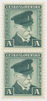 Československo, Kolek A - zelený, tištěný za války v Anglii a původně určený ke kolkování bankovek