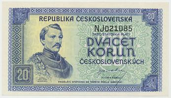 Československo, 20 Koruna b.d. (1945), perforace 3 md, Baj.72