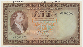 Československo, 500 Koruna b.d. (1945), zkušební tisk, číslování CA 000,001 a CB 400,000
