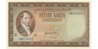 Československo, 500 Koruna b.d. (1945), perforace 3 md, Baj.75