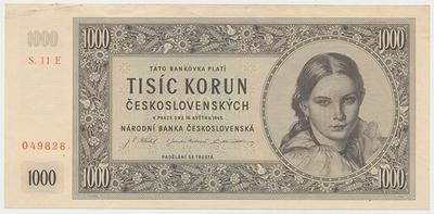 Československo, 1000 Koruna 1945, II. vydání, série E, neperforovaná, Baj.78d
