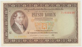 Československo, 500 Koruna 1946, série Ja, neperforovaná, Baj.80b