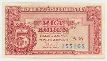 Československo, 5 Koruna 1949, série A10-99, neperforovaná, Baj.82b