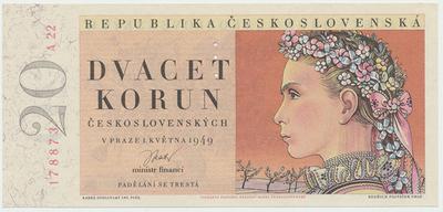 Československo, 20 Koruna 1949, I. vydání, perforace 3 md, Baj.83a
