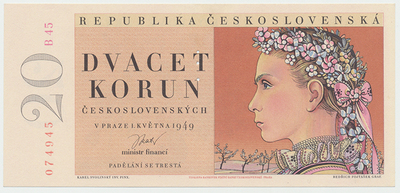 Československo, 20 Koruna 1949, II. vydání, perforace 3 md, Baj.83b