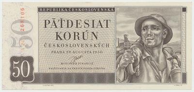 Československo, 50 Koruna 1950, I. vydání, perforace 3 md, Baj.85a