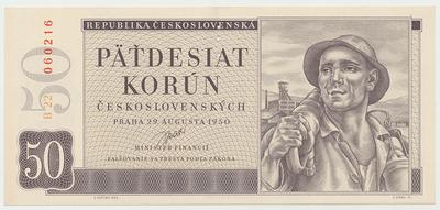 Československo, 50 Koruna 1950, II. vydání, perforace 3 md, Baj.85b