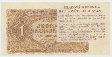 """Československo, 1 Koruna 1953 - """"hladová koruna"""" (politická propaganda), Baj.86"""