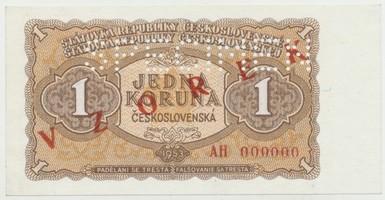 Československo, 1 Koruna 1953, série AH 000000, červený přetisk VZOREK, perforace 1x SPECIMEN