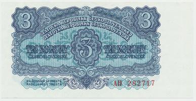 Československo, 3 Koruna 1953, tisk Moskva, Baj.87a