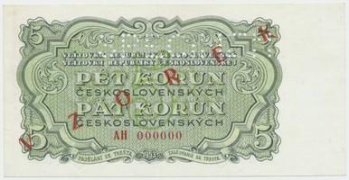 Československo, 5 Koruna 1953, série AH 000000, červený přetisk VZOREK, perforace 1x SPECIMEN