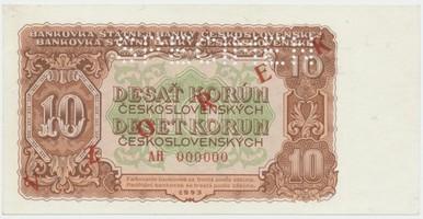 Československo, 10 Koruna 1953, série AH 000000, červený přetisk VZOREK, perforace 1x SPECIMEN