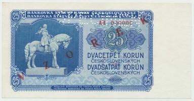 Československo, 25 Koruna 1953, série AH 000000, červený přetisk VZOREK, perforace 1x SPECIMEN
