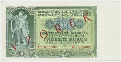 Československo, 50 Koruna 1953, série AH 000000, červený přetisk VZOREK, perforace 1x SPECIMEN