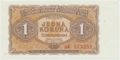Československo, 1 Koruna 1953, tisk Moskva, série AK, Hej.98a1, BHK.86a